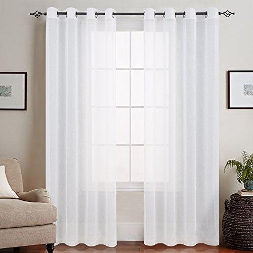 TOPICK Weiß Lange Gardinen Vorhang für Wohnzimmer transparent mit Ösen Ösenschal dekoschal Voile 245 x 140 cm (H x B) 2er Set
