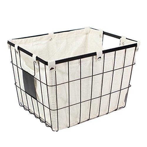 WM Homebase Metallkörbe Schalen Wäschesammler Aufbewahrungskorb Drahtkorb aus Metall mit Griffen für Badzubehör oder Spielzeug 40,5x32,5x28 cm