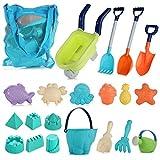 Strand Spielzeug Kleinkinder im Freien Strand Sand Spielzeug Set mit Handkarren Spaten Eimer Schloss Formen und Netztasche aus weichem Kunststoff (20-teiliges Set)