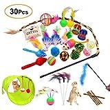 FYNIGO 30 Stück Katzenspielzeug Set mit Katzentunnel,Bälle,Federspielzeug,Plüschspielzeug,Spielzeugmäuse,Katzen Spielzeug Variety Pack für Kitty