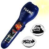 alles-meine.de GmbH 3 TLG. Set _ Taschenlampe LED -  Disney Cars - Auto Lightning McQueen  - incl. Name - Projektion mit verschiedenen Bilder Aufsätzen - für Kinder Lampe / Pro..