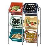 Flaschenkastenregal für genormte Getränkekisten,Euroboxen o. Klappboxen - Getränkekistenregal aus grau lackiertem Stahlrohrgestell - für 6 Kisten