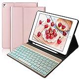 BORIYUAN Tastatur Hülle für iPad 2018 (6 Gen.)- iPad 2017 (5 Gen.) - iPad Air 2/1 - iPad Pro 9.7 - Automatischer Schlaf/Aufwachen Hülle mit Hinterleuchtet Bluetooth Tastatur (German Layout), Rosegold