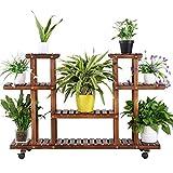 Yaheetech Pflanzentreppe Pflanzenregal Holz mehrstöckig Blumenregal mit Rollen Blumenständer Platzsparend Balkon Innen Dekor 124 x 33 x 80cm