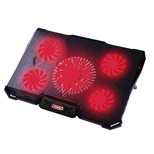 Laptop Kühler für 12 - 17,3 Zoll ,Energiesparen Ultra Leise Notebook Kühler mit 5 Ruhige Lüfter und roten LEDs PC Kühler ,7 höheverstellbar Laptop Stand, 2 USB-Anschlüssen, verstellbare Windgeschwindkeit Cooling Pad für Gamer Gaming