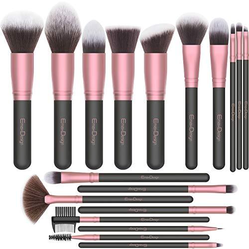 EmaxDesign Make up Pinsel 18 Pcs Professionelle Makeup Pinselset Premium Synthetische Pinsel Pulver Flüssige Creme Gesicht Lidschatten Kosmetikpinsel (Rose Golden)