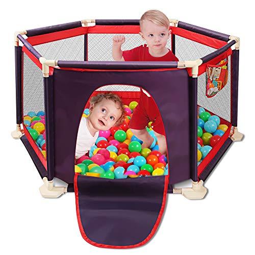 Spielplatzzaun für Kinder mit Laufgitter, Zaun, Spielcenter tragbar mit Tragetasche und atmungsaktivem Mesh für Neugeborene, Indoor- und Outdoor-Spiele (Bälle nicht enthalten) (rot)