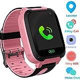Jaybest Kid Smart Watch LBS Tracker, 1.44' Touch LCD Kinder Smartwatch mit SOS Kamera Taschenlampen Anti-Lost Voice Chat für Jungen Mädchen Geburtstagsgeschenke(Pink)