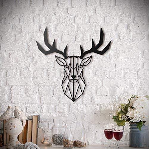 Deer Head Metal Wall Art by Hoagard   Hirschkopf Metall Wandkunst von Hoagard   47 cm x 53 cm   Geometrische Metallwandkunst, Wanddekoration