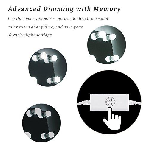 Waneway Hollywood-Stil LED Spiegelleuchte (Schminklicht, Spiegellampe),Schminktisch Spiegel Lichter Set für Kosmetikspiegel mit Dimmfunktion,Spiegel Nicht Inbegriffen,14 LED-Lampen