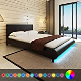 cangzhoushopping Kunstleder-Bett 140 x 200 cm mit LED-Streifen Schwarz + Memory Foam-Matratze Möbel Betten Zubehör Betten Bettgestelle