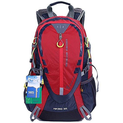 EGOGO 30L Wasserdicht Wanderrucksack Camping Rucksack mit Regenschutz Laufen Radfahren im freien S2310 (Rot)