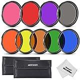 Neewer 67mm 9Stück Full Color ND Filter Kit für Kamera Objektiv mit 67mm Gewinde Größe–Rot Orange Blau Gelb Grün Braun Violett Pink und Grau ND Filter, Tragetasche und Mikrofaser-Reinigungstuch