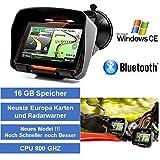 4,3' Zoll PKW Navigationsgerät Navigation Bluetooth,PKW,Motorrad,Wasserdicht,GPS,Kostenlose Kartenupdate,Neuste Europa Karten sowie Radarwarner,16GB Speicher