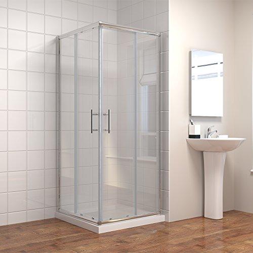 Duschkabine/Duschabtrennung 90x90cm Eckeinstieg Doppel Schiebetür Echtglas