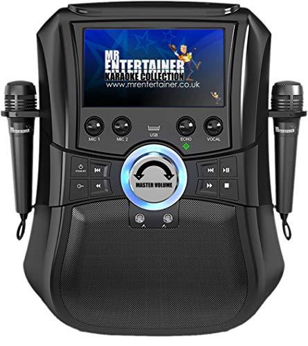 Mr Entertainer Megabox Bluetooth Karaoke Machine with Screen. CDG/DVD/MP3G/USB/RECORD. Karaoke-Maschine mit Bildschirm, 2 Mikrofonen und 200 Liedern