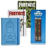 Fortnite Notizbuch A5, 3er-Set Notizbücher und Farbstiften Bundle Enthält 3 Notizbüchern, 6 Buntstifte, Briefpapier-Bundle-Set, Set Briefpapier für Kinder Kawaii Schulbedarf Schulschreibsets