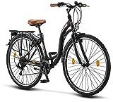 Licorne Bike Stella (Schwarz) 28 Zoll Damenfahrrad, ab 160 cm, Fahrrad-Licht, Shimano 21 Gang-Schaltung, Damen-Citybike, Retro, Holland, Amsterdam