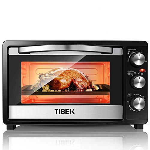 TIBEK MiniBackofen | 1500 Watt Backofen mit Herausnehmbarem Krümelblech | 100°- 250°C Mini-Öfen | 23L Pizzaofen | Edelstahl Ofen Inklusive Grill und Backblech | 60-Minuten