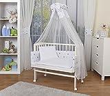WALDIN Baby Beistellbett komplett mit Ausstattung, höhen-verstellbar, Buche Massiv-Holz weiß lackiert, 14 Modelle wählbar,Sterne grau/blau