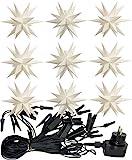 3D LED 9er Sternenkette für innen & außen Stern Adventsstern Weihnachtsstern Neuheit 2017 (weiß)