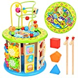WloveTravel Motorikwürfel,10 in 1 Holz Activity Cube Perle Labyrinth Mehrzweck-Lernspielzeug für Kinder Baby Kleinkind Alter 3 4 5 6 7 8 + Einjahres Mädchen Jungen (10 in 1)