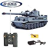 s-idee 22002 Battle Panzer 99807 German Tiger 1:28 mit integriertem Infrarot Kampfsystem 2.4 Ghz RC R/C Ferngesteuerter Panzer Tank Kettenfahrzeug IR Schussfunktion Sound Licht