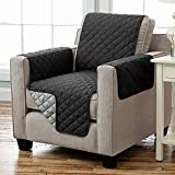 Kamaca Wende - Sesselschoner Sesselauflage Relax mit Armlehnen und Taschen Sessel Überwurf warm und weich zur Schonung der Polster Lehnenschutz zweiseitig verwendbar (SCHWARZ - ANTHRAZIT)