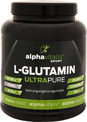 L-Glutamin ULTRAPURE - 1000g - vegan - glutenfrei - laktosefrei - feinstes L-Glutamin Pulver aus Deutscher Herstellung - alphavitalis SPORT