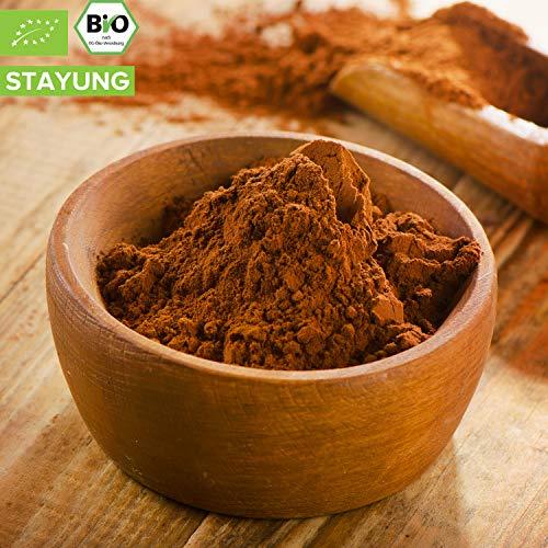 1000g Bio Kakao Pulver | 1 kg | 100% reines Kakaopulver (stark entölt 11% Fett) | Hohe Qualität | ohne Zusatzstoffe | intensives Aroma | kompostierbare Verpackung | STAYUNG