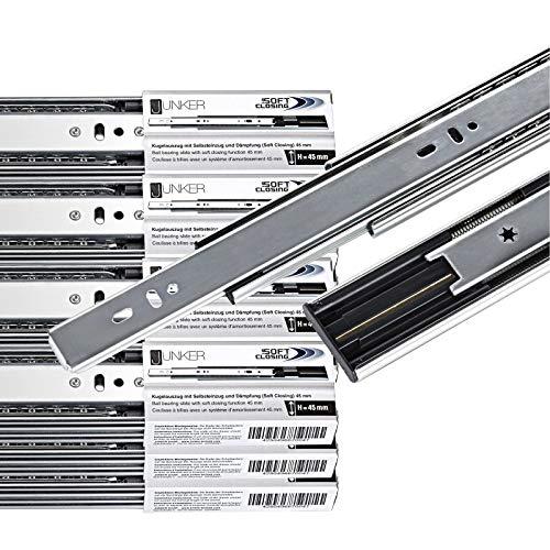 1 VE (10 PAAR) Vollauszüge 700 mm 45 Kg Tragkraft mit Soft Close Schubladenschienen von JUNKER