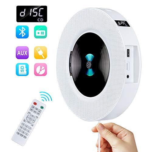 Gueray Tragbarer CD Player Wandmontage mit Bluetooth und HiFi Lautsprecher LED-Display Unterstützt FM-Radio MP3 USB mit 3,5 mm Kopfhöreranschluss An und Aus Schalter mit Zugschalter für Kinder