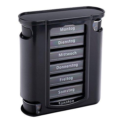 S/O Tablettenbox schwarz mit schwarzen Schiebern 7 Tage Pillen Tabletten Box Schachtel Tablettendose Pillendose Pillenbox Tablettenboxen Pillendosen Pillen Dose Wochendosierer