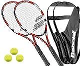 2 x Babolat Falcon 105 Tennisschläger L1/L2 + Covers + 3 Bälle