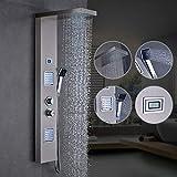 Auralum duschpaneele regendusche mit thermostat, 2xMassagedüsen, Wellness Duschsystem Duschsäule Duscharmatur Wasserfall, Edelstahl Duschpaneele