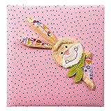 Goldbuch Babyalbum, Bungee Bunny, 30 x 31 cm, 60 weiße Blankoseiten mit 4 illustrierten Seiten und Pergamin-Trennblättern, Leinen mit Applikation, Pink, 15591