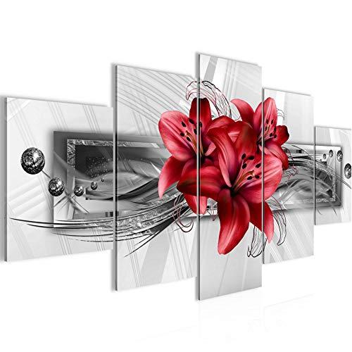 Bilder Blumen Lilien Wandbild 150 x 75 cm Vlies - Leinwand Bild XXL Format Wandbilder Wohnung Deko Kunstdrucke - MADE IN GERMANY - Fertig zum Aufhängen 008753c