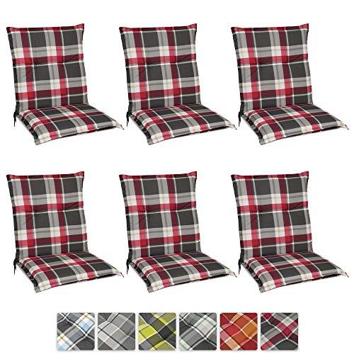 Beautissu 6er Set Sunny RK Niedriglehner Auflagen Set für Gartenstühle 100x50 cm in Rot Kariert - Bequeme Gartenstuhl Stuhlkissen Polsterauflagen UV-Lichtecht