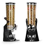 Ballino- Spender aus Kunststoff, für Cornflakes, Müsli oder andere trockene Lebensmittel, durchsichtiger Doppelbehälter, auch für Haustierfutter oder Kaffeebohnen Single Black
