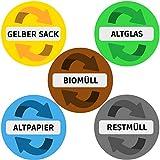 Aufkleber Mülltonne für Mülltrennung | 5er Set - 9,5cm (Rund) | Alle wichtigen Motive (Gelber Sack, Altglas, Altpapier, Restmüll, Biomüll) | UV-Schutz für Innen und Außen | Vorgestanzt