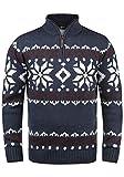 !Solid Norwin Herren Weihnachtspullover Norweger-Pullover Winter Strickpullover Troyer Grobstrick mit Stehkragen, Größe:XXL, Farbe:Insignia Blue Melange (8991)