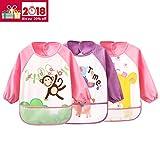 Ärmel-Lätzchen Waterproof Bib Babylätzchen für Kinder von 0 - 3 Jahren (3 pink set)