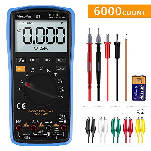 Digital Multimeter, mit Auto-Range Morpilot 6000Counts Advanced Strommessgerät Voltmeter Ohmmeter Amperemeter, Temperatur, Außenleiter-Identifizierung, True RMS, Akustischer Durchgangsprüfung etc, für professionelle Anwender, Heimwerker und Bastler