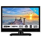 HKC 16M4 15,6 Zoll (39,6 cm) LED-Fernseher (HD-Ready, Triple Tuner DVB-T2/S2/T/S/C, CI+.265/HEVC. 230V / 12V Kfz-Adapter, schwarz) [Energieklasse A +]