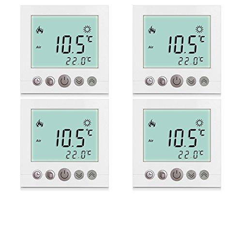 4x Excelvan Thermostat Heizung Raumthermostat Programmierbar heizkörperthermostat Wandthermostat Smart Digital Heizungsthermostat für elektrische Fußbodenheizungmit LDC Display