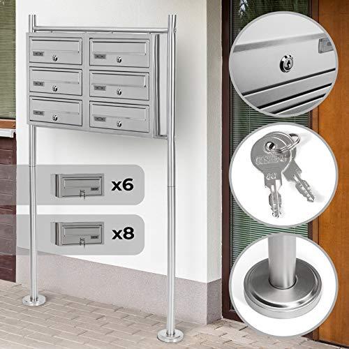Stand-Briefkastenanlage | mit Namensschilder, Schlüssel, Abschließbar, Größenwahl 5/6/8, Geräumige Postfächer, Freistehende | Standbriefkasten, Postkasten, Designer Mailbox, Letterbox (6er)