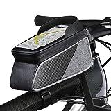 ROTTO Fahrradtasche Rahmentasche Oberrohrtasche Fahrrad Handy Tasche Vorne Sensitive Touch-Screen Wasserdicht (Grau-Schwarz)
