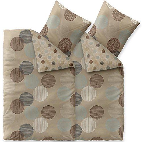 aqua-textil Trend Bettwäsche 135 x 200 cm 4teilig Baumwolle Bettbezug Fara Punkte Beige Braun Türkis