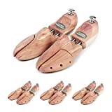 Schlesinger – 4 Paar Premium Schuhspanner aus edlem Zedernholz für Herrenschuhe. Modell Kaiser. Größe 43/44. Silber Knauf.