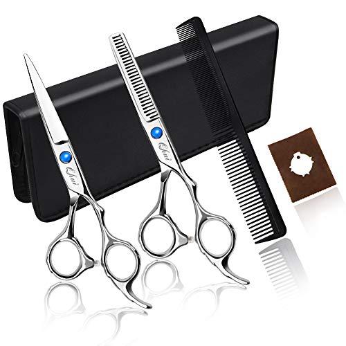 Qhui Haarschere Set, 2 Extra Scharfe Haarschneideschere mit Etui, Licht Friseurscheren mit Einseitiger Mikroverzahnung, Perfekter Effilierschere für Damen und Herren